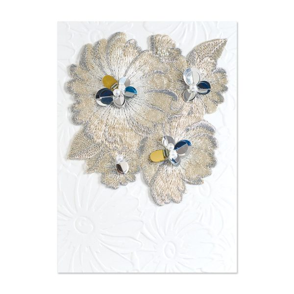 BOLD FLORALS ON STITCHED PATTE